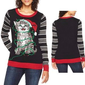 💖OFFERS??💖•Ugly X-mas Sweater• Light Up Cat Face